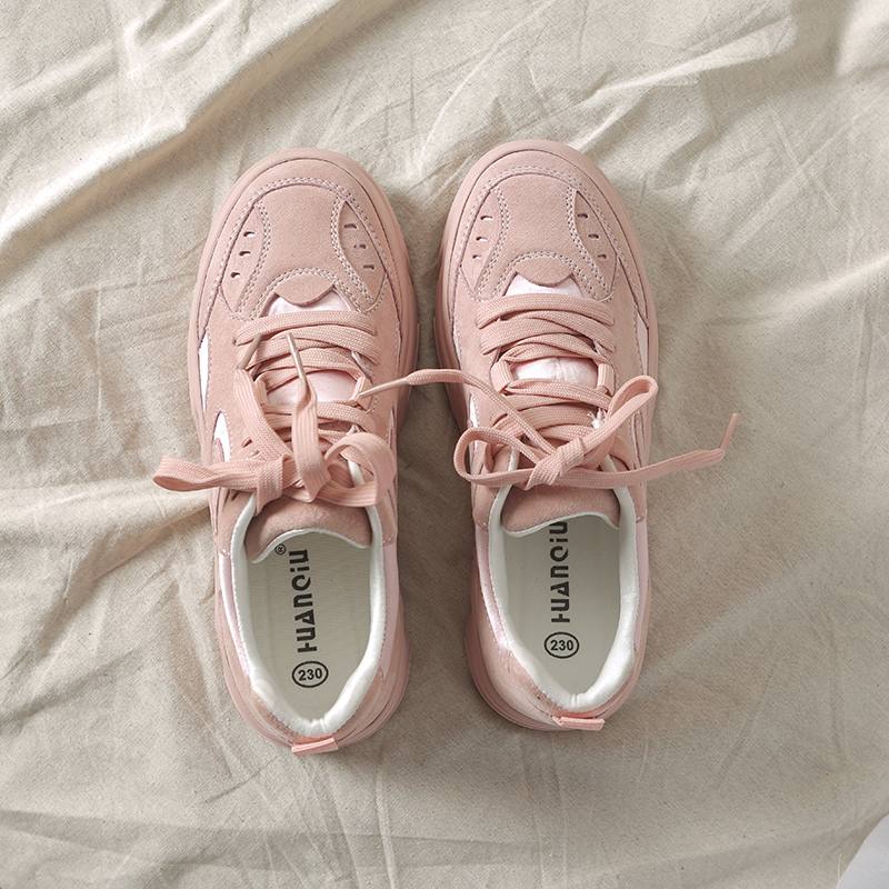 Women Sneakers Pink Solid Color Lace Up 2018 New Fashion Pigskin Woman Casual Shoes Outdoor Footwear Comfortable High Quality