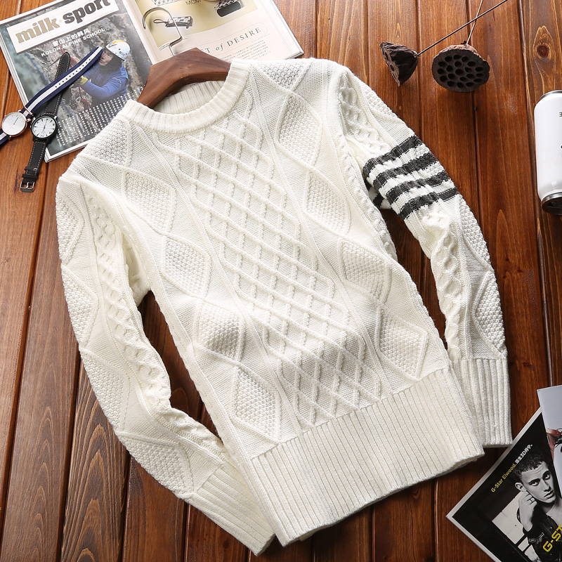 2018 Winter Brand New Fashion Casual Sweater Wool Cashmere O-neck Slim Fit Knitting Warm Pullover Men Clothes Pull Homme Coats