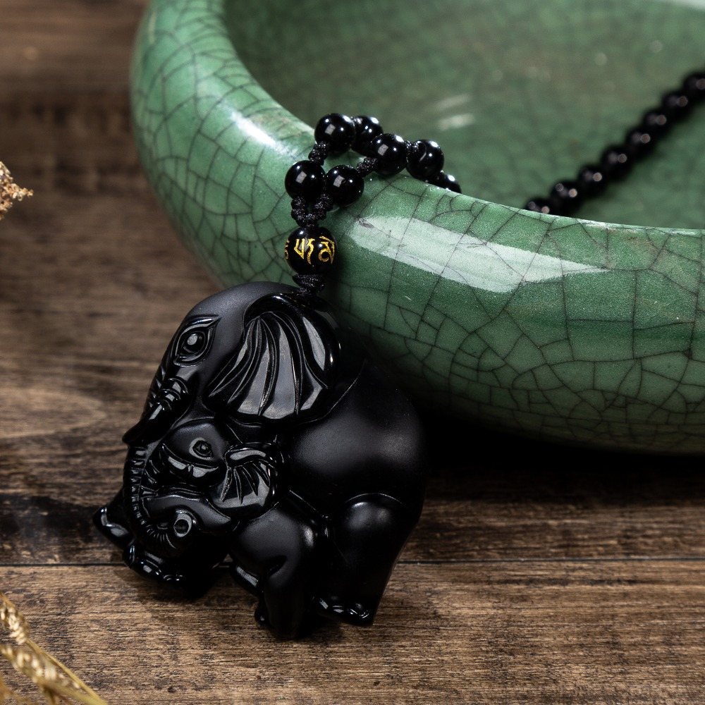 Obsidian Mother Baby Elephant Nose God of Wealth Lucky Amulet Pendant Necklace