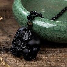 Обсидиан мать ребенок слон нос Бог богатства Лаки амулет кулон ожерелье