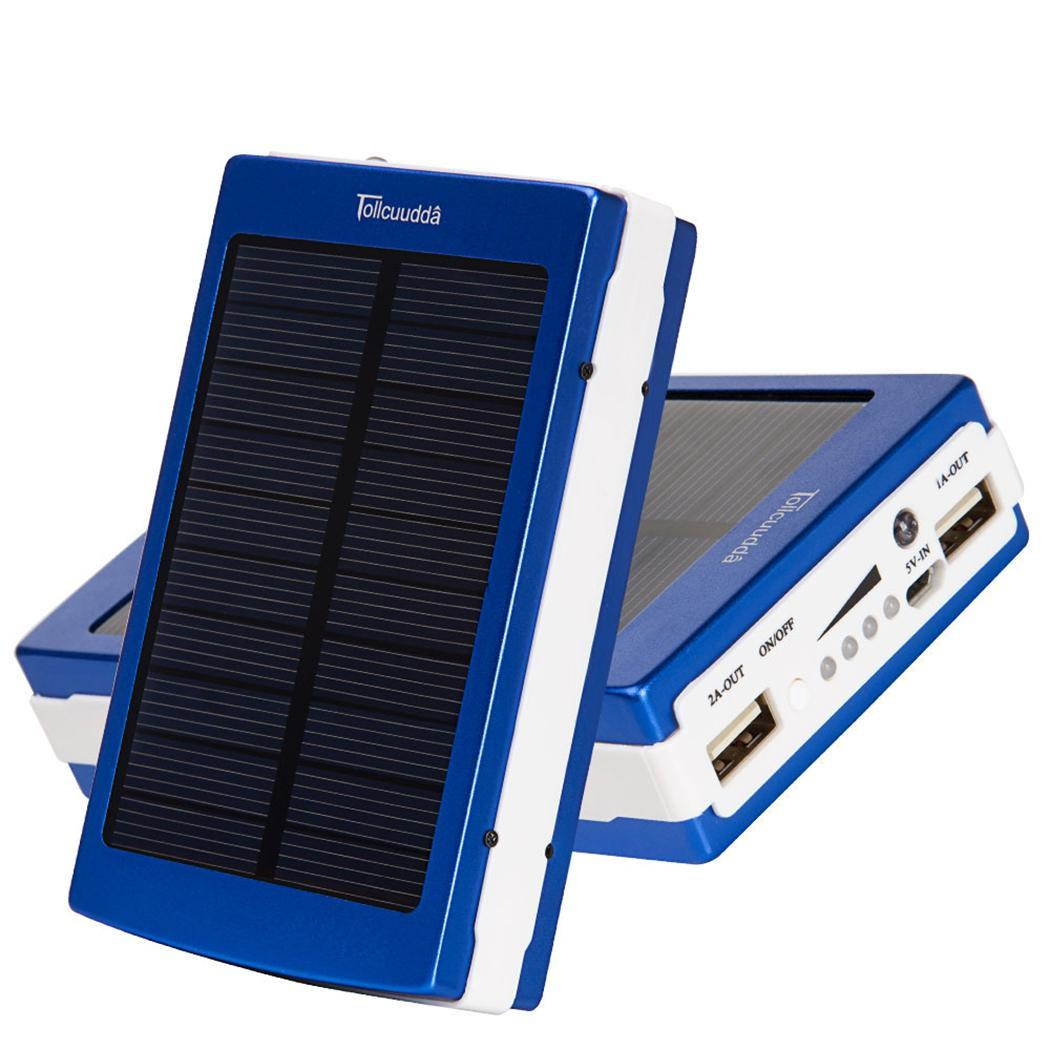 Portable Solar Power Bank Outdoor Camping Oversized Dual USB External Battery LED Solar Charger For Tablet Cell Phones