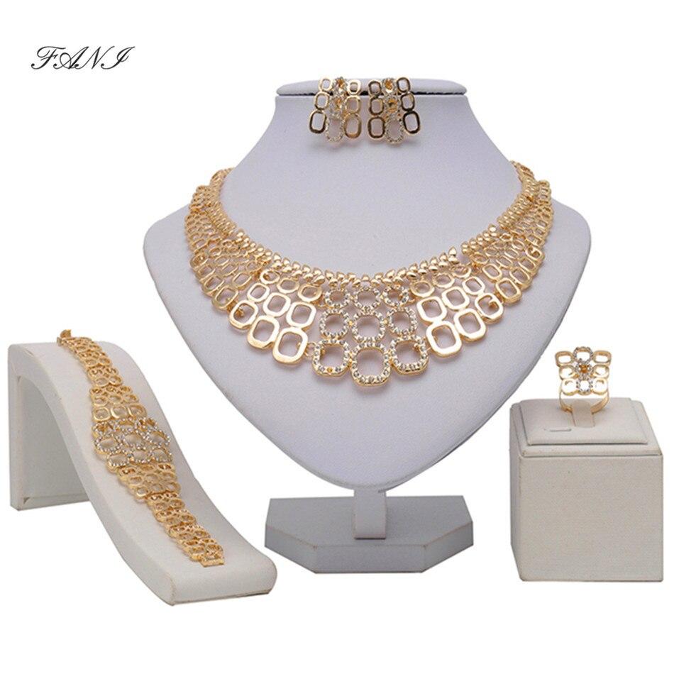 2016 Африканские Бусы Ювелирные Наборы Для Женщин Свадьба Золотой цвет Мода CZ Кристалл Rhinestone Подвеска Костюм