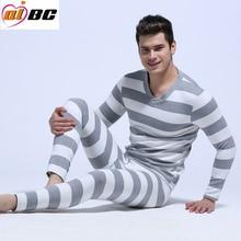 NewAIBC men's long johns set cotton male legging autumn and winter thermal underwear stripe Long Johns set 5 colors M L XL