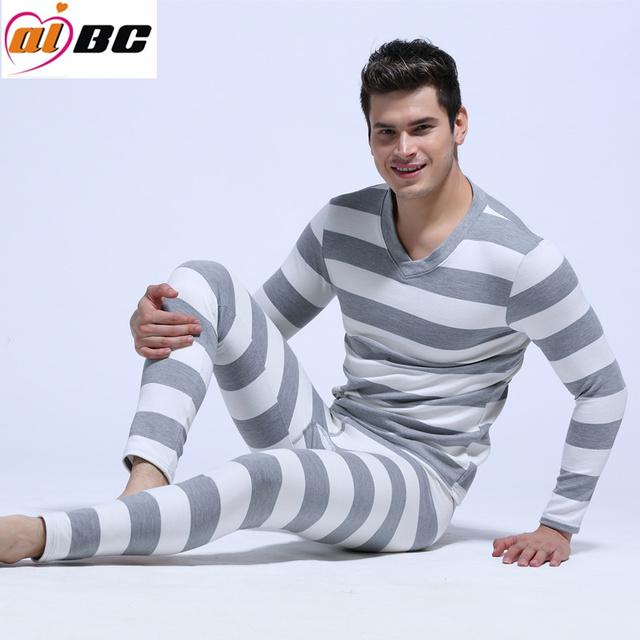 NewAIBC hombres long johns conjunto masculino de algodón legging otoño e invierno ropa interior térmica de la raya Calzoncillos Largos set 5 colores Ml XL