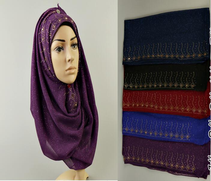 women glitter scarf plain chiffon gold diamond shawl summer muslim hijab head wrap muffler high quality