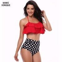 Nanke Kongque New 2018 Bikini Set Double Ruffle Swimsuit Sexy Women S Swimwear Off Shoulder High