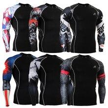 Basis Schichten Männlichen Strumpfhosen Männer-t-shirt Kleidung Kompression Shirt 3d-drucke Fitness Crossfit Haut Größe S-4XL