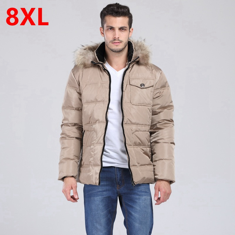 Are new men's big yards to wear down jacket warm fur collar with fertilizer increased fat leisure jacket 8XL 7XL 6XL 5XL 4XL 3XL 2017 summer autumn women skinny jeans high waist blue elastic long slim pencil pants trousers plus size