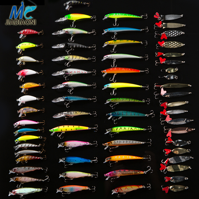 JIADIAONI 63pcs/lot Fishing Lure Set Fly Tying Wobbler Minnow Hard Bait Metal Jig head Lure Crankbaits Carp Fishing Accessories wifreo 1pack 30cm crimped kinky minnow fiber streamer fly fibers bucktail jig head tying material for fly fishing bass lure