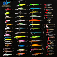 JIADIAONI 63pcs/lot Fishing Lure Set Fly Tying Wobbler Minnow Hard Bait Metal Jig head Lure Crankbaits Carp Fishing Accessories