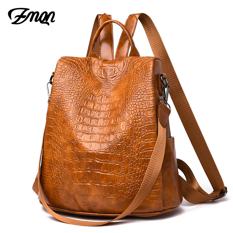 ZMQN Backpack Women Crocodile Pu Leather Anti Theft Backpack Travel Back Pack Lady Bag For 2019 Zaino Donna Sac A Dos Femme C123