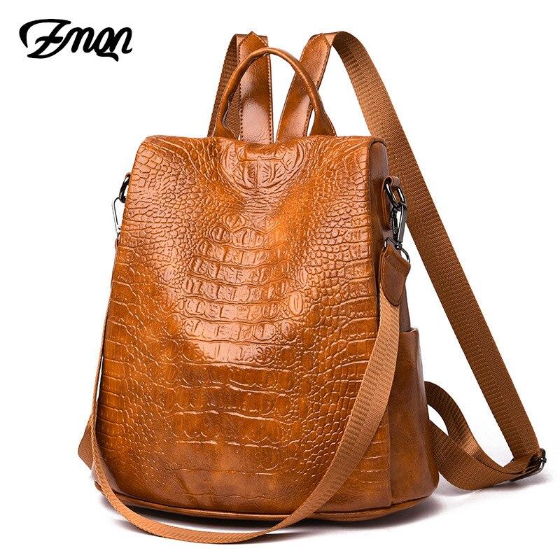 ZMQN zaino delle donne del coccodrillo cuoio dell'unità di elaborazione anti theft zaino da viaggio zaino sacchetto della signora per...