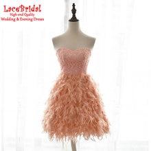 Sexy Eine Linie Schatz Orange Spitze Feder Cocktailkleider 2016 Formale Kurze Abschlussballkleider Mini robe de cocktail TE49