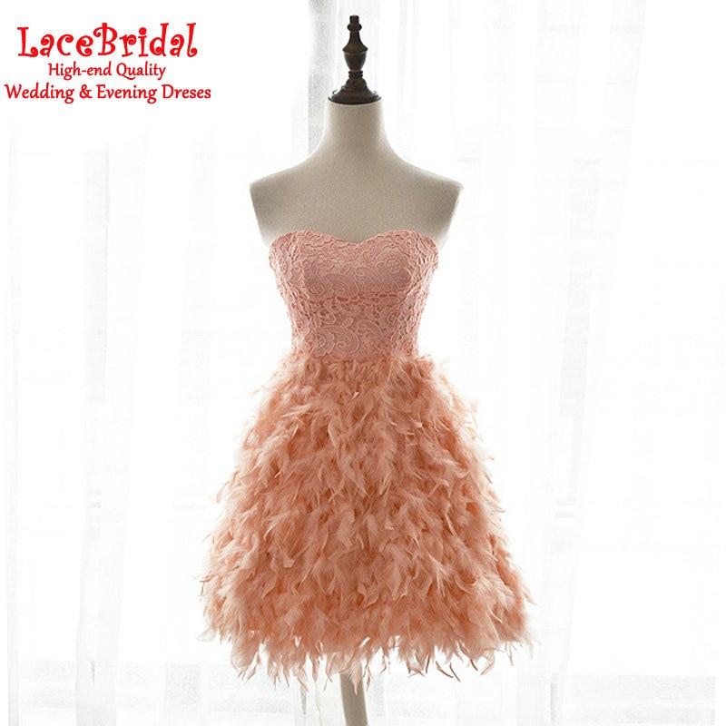 Sexy un line sweetheart orange vestidos de cóctel de encaje de plumas 2017 forma