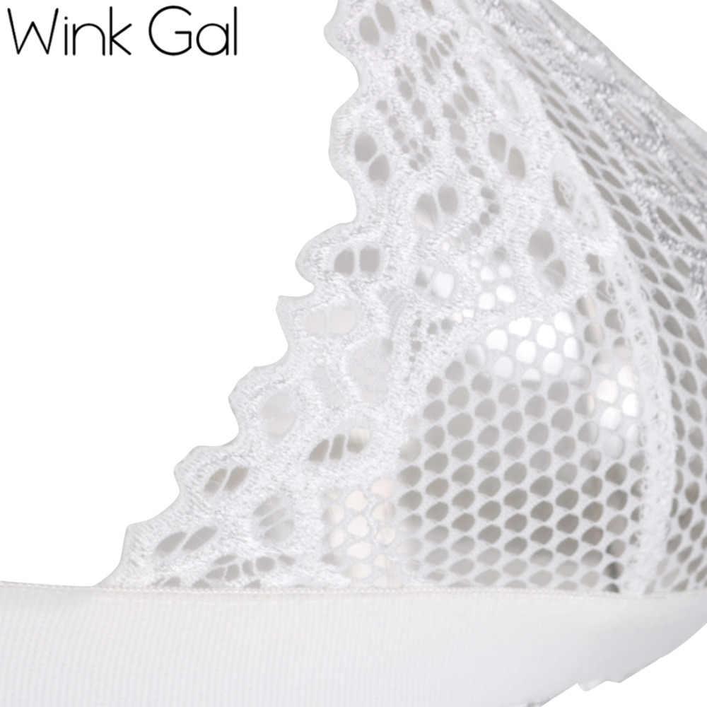 Wink Gal женский сексуальный бюстгальтер ультратонкий лифчик с кружевами сексуальное проёмное нижнее бельё для женщин  1658