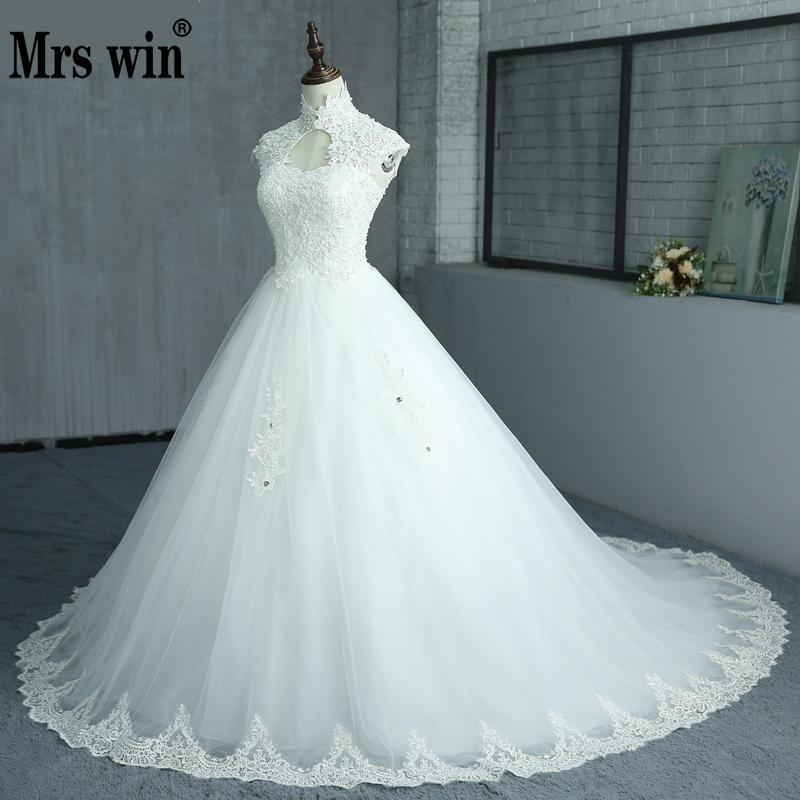 Free Shipping Elegant Beautiful Lace Flowers Long Train Beading Wedding Dresses Vestidos De Noiva Robe De
