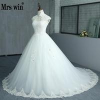 Free Shipping Elegant Beautiful Lace Flowers Long Train Beading Wedding Dresses Vestidos De Noiva Robe De Mariage Bridal Dress