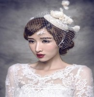 Fashion Hair Accessories Headdress New Cover Mesh Veil Hat Type Head Flower