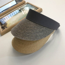Foldable Solid Raffia Empty Top Sun Visor Caps Summer Straw Hat Wide Brim Beach Travel Free size Ponytail6 COLOR