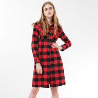New Arrival Women Long Shirts Cotton Plaid Women Blouses Long Sleeve Chemise Femme Longue Plaid Haut