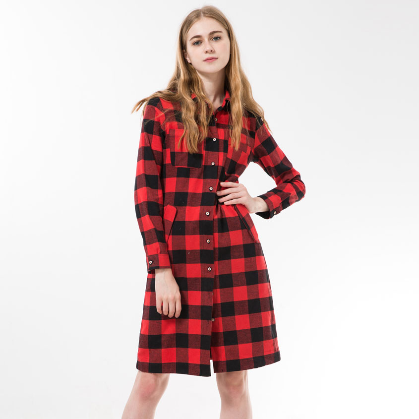 Dioufond autumn women long shirt long sleeve red plaid Womens red plaid shirts blouses