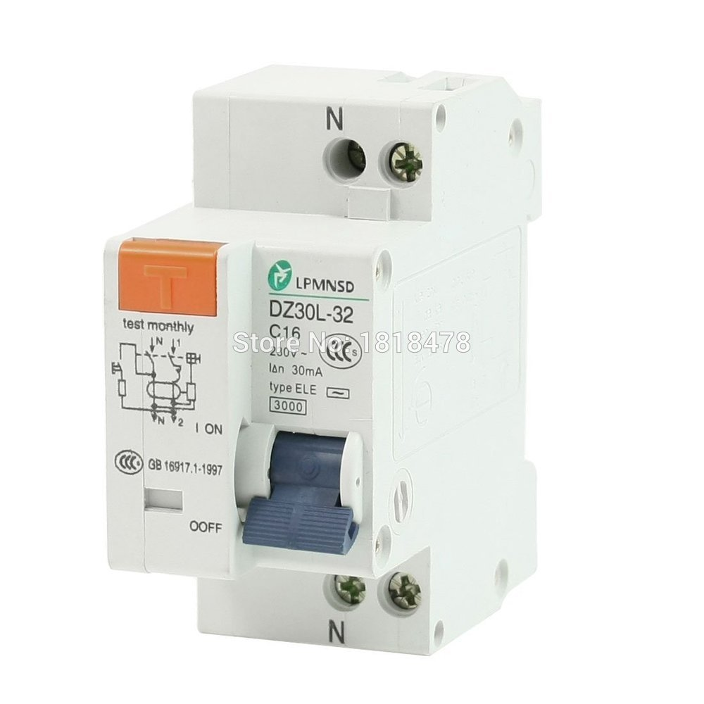 все цены на DZ30L-32 16A 1P+N AC 230V 16A 1 Poles 1P Overload Protection ELCB Earth Leakage Circuit Breaker онлайн