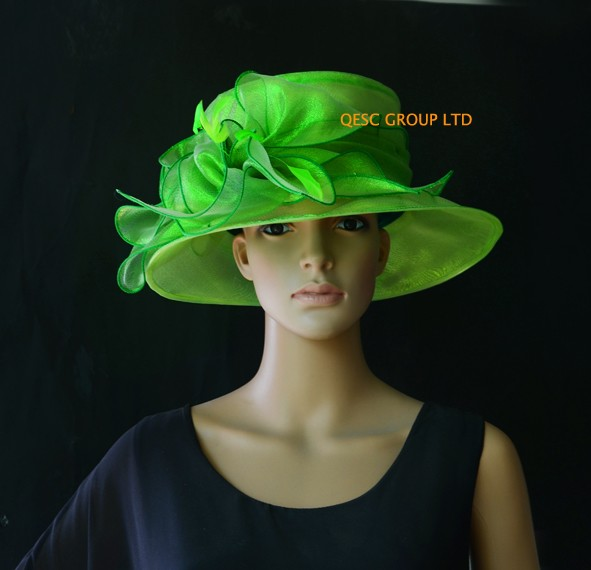 Green-organza-hat-Kentucky-Derbppy-hat-with-feathers-for-wedding-races-party-church-