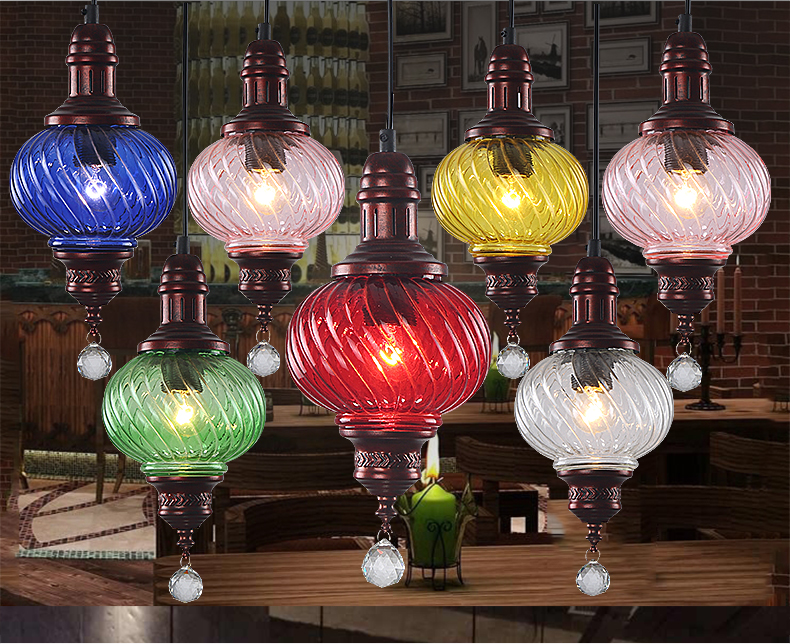 Vintage Loft Bohemia Colorful Glass Cystal Cafe Bar Pendant Lamp Drop Light Coffee Shop Store Restaurant vintage loft industrial edison flower glass ceiling lamp droplight pendant hotel hallway store club cafe beside coffee shop