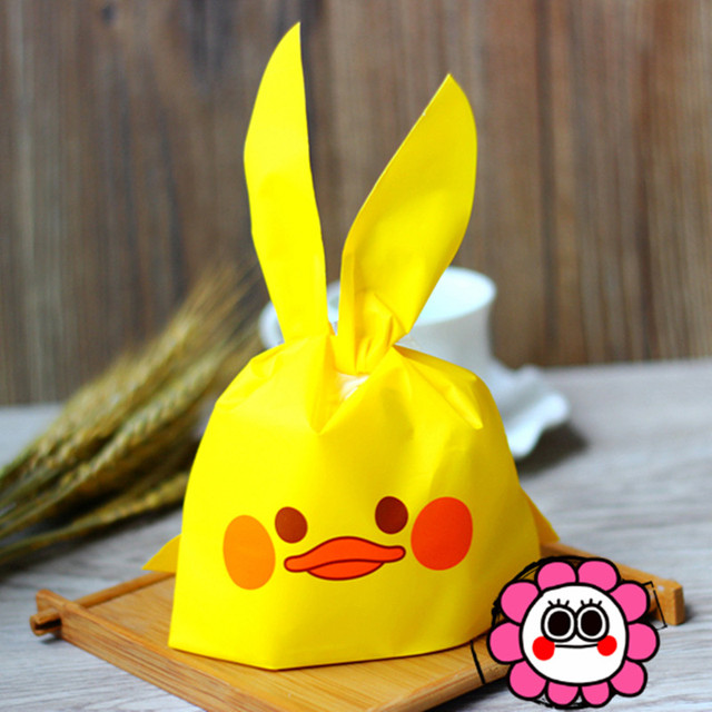 10 pcs/lot cute long ears duck Cookie bags Plastic Packaging Bags for Biscuits Snack Event & Party Supplies free shipping