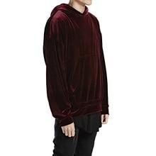 2 colors Black and Maroon Mens velour velvet hoodies loose fit streetwear big hooded oversized hoodie for men S,M,L,XL size