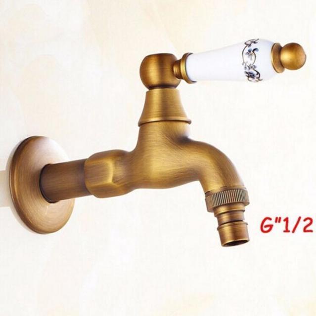 Antike Bibcocks Hahn Gebrauch Für Garten U0026 Badezimmer Wand Waschmaschine  Wasserhahn Mit Keramik Griff Outdoor Wasserhahn