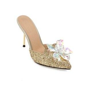 Image 5 - MORAZORA yaz sandalet kadın ayakkabı taklidi ince yüksek topuklu ayakkabılar 9.5cm parti ayakkabıları zarif sivri burun büyük boy 34 43