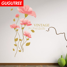 Decorate flower rose buttlefly art wall sticker decoration Decals mural painting Removable Decor Wallpaper LF-1752