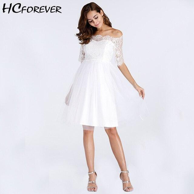 5d4ecd81730 Летние Винтаж вечерние пикантные белое платье Для женщин с открытыми плечами  сетки элегантный миди рукава ретро