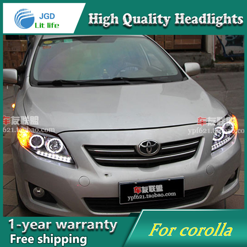 high quality Car Styling Head Lamp case for Toyota corolla 2007-2011 LED Headlight DRL Daytime Running Light Bi-Xenon HID high quality led round daytime driving running light drl for toyota sienna 2011 car fog lamp headlight super white