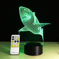 Shark Touch Remote 3d Lamp Powerbank Usb Led 3d Night Light Christmas Gifts For Children 3d Light Luminaria Table Lamps|3d night led|usb led night|lamp 3d -