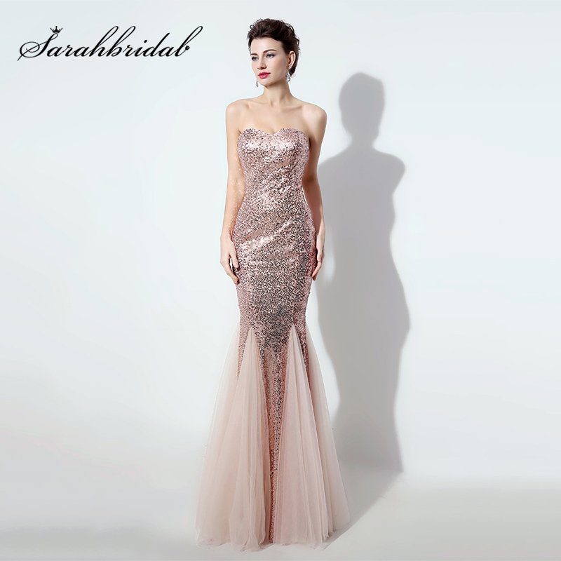 Cheap Long Bling Blush Sequin Evening Dress Sweetheart Mermaid Tulle Custom Made Prom Party Gowns Formal Women Dresses OS235