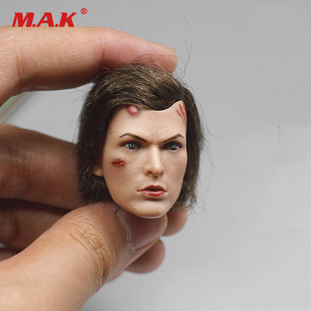 все цены на 1/6 Scale Female Head Sculpt Resident Evil The Final Chapter Alice Head Carving Model Damage Version for 12