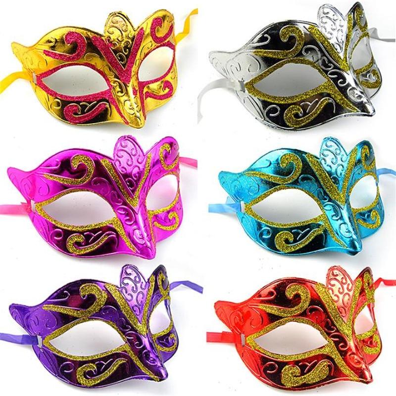 Ev ve Bahçe'ten Parti Maskleri'de Moda göz maskesi altın parlayan kaplama parti maskesi düğün sahne masquerade mardi gras maske bireysel paket 1 adet 1opp'da  Grup 2
