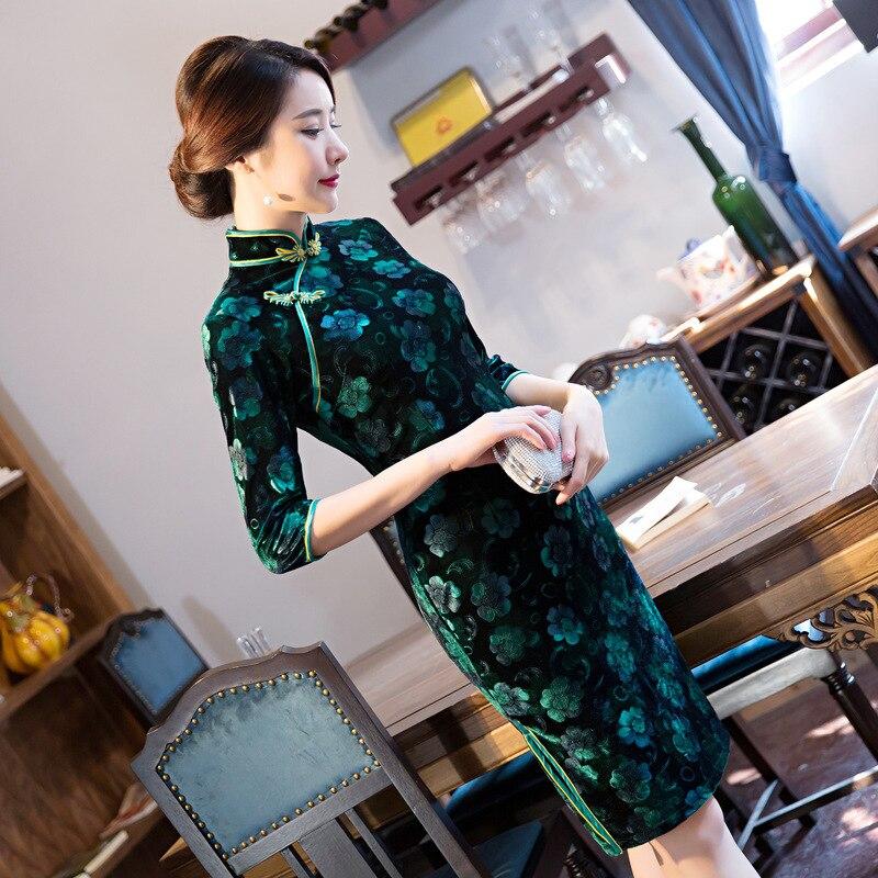 Fashion Women's Mini Cheongsam Spring New Arrival Chinese Style Velour Dress Elegant Qipao Vestidos Size S M L XL XXL XXXL 4XL