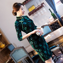 Fashion Womens Mini Cheongsam Spring New Arrival Chinese Style Velour Dress Elegant Qipao Vestidos Size S M L XL XXL XXXL 4XL