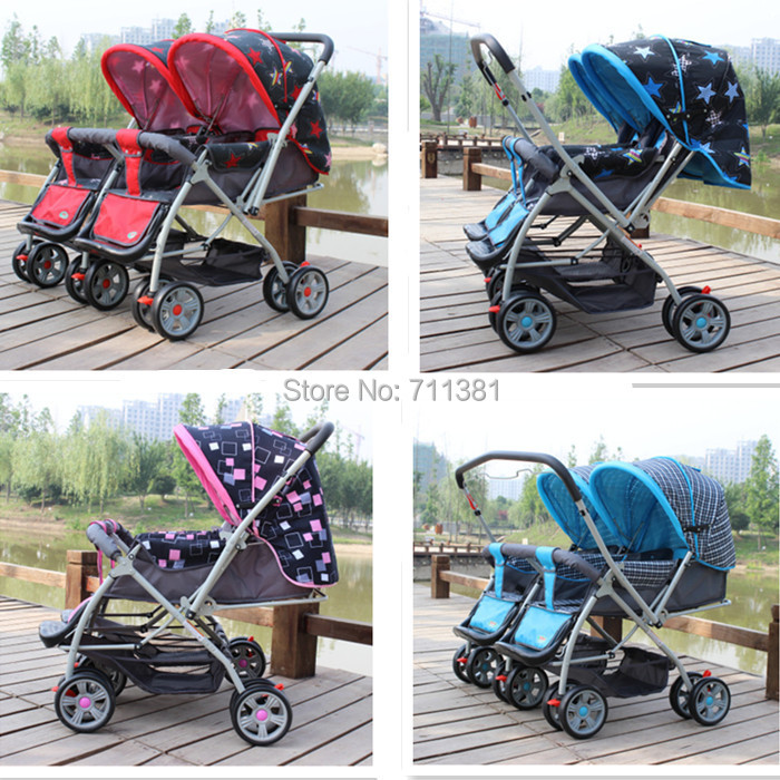 High Quality Twin Strollers For Children Cute Baby Stroller Pushchair Folding Carrier 5 Patterns On Sale In Three Wheels From