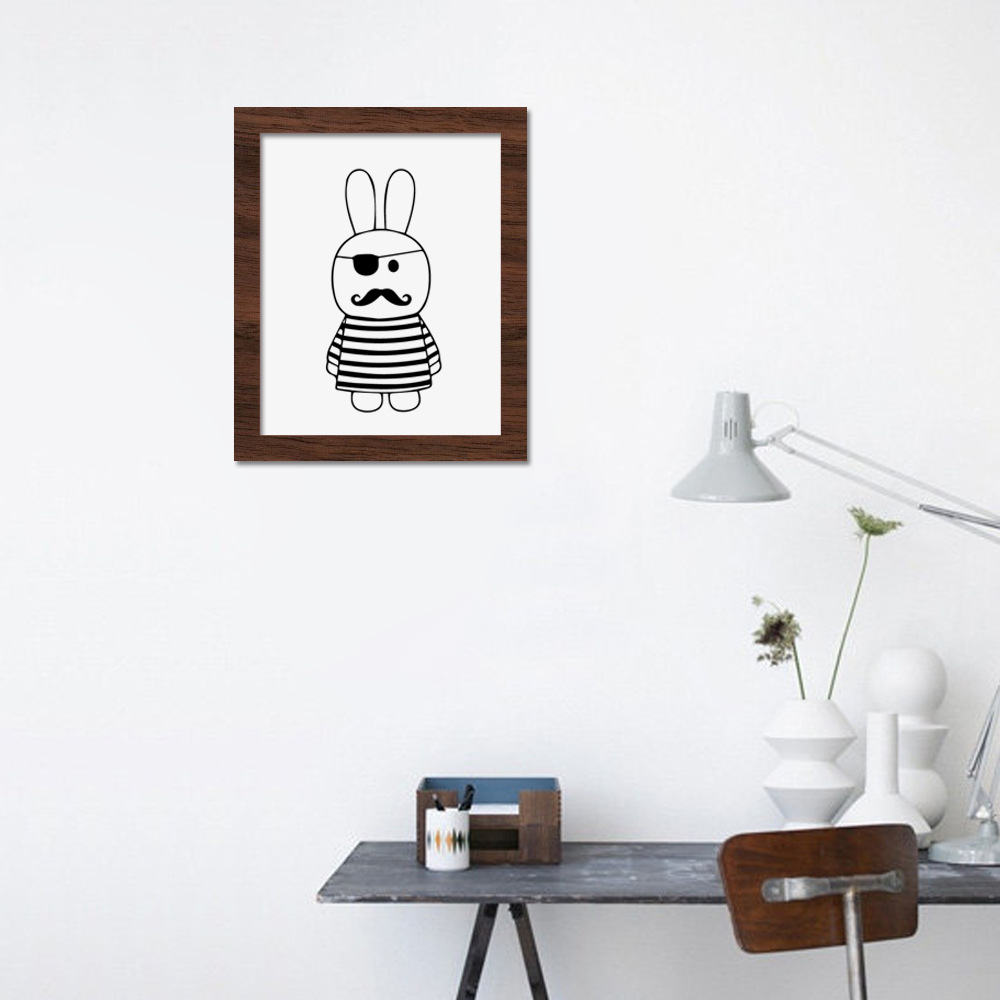 Rabbit Poster Cartoon Wall Art Decorative Childrens Room Lovely Simple Black And White Animal Cadre Photo Bois In Painting Calligraphy From Home