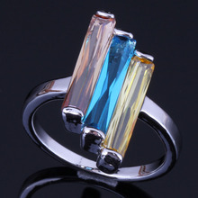 Glittering Rectangle Multigem Multicolor Brown Yellow Sky Blue Cubic Zirconia 925 Sterling Silver Ring For Women V0431A