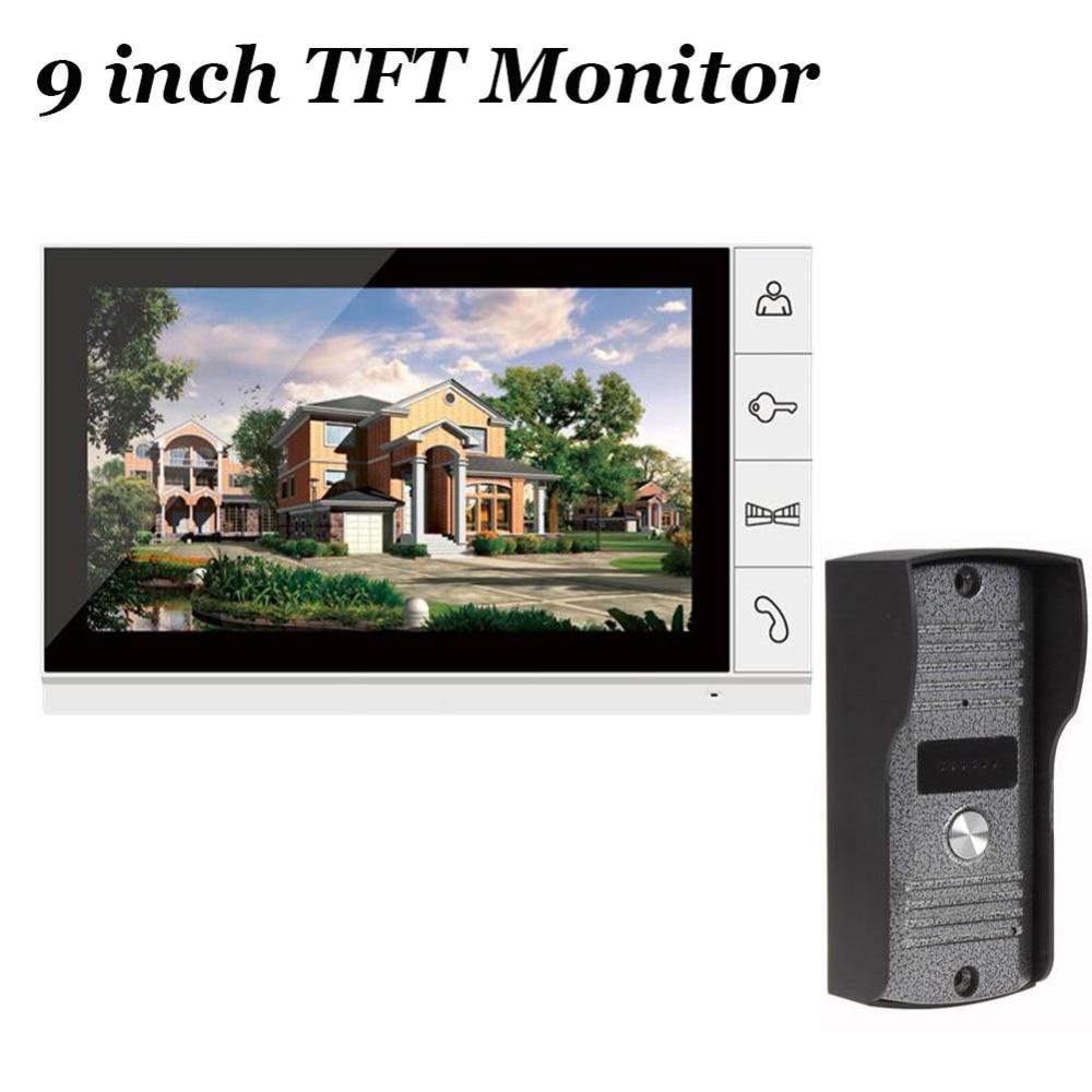 9 inch TFT Monitor Video Door Phone Doorbell Night Version Camera Intercom Home Security Video system