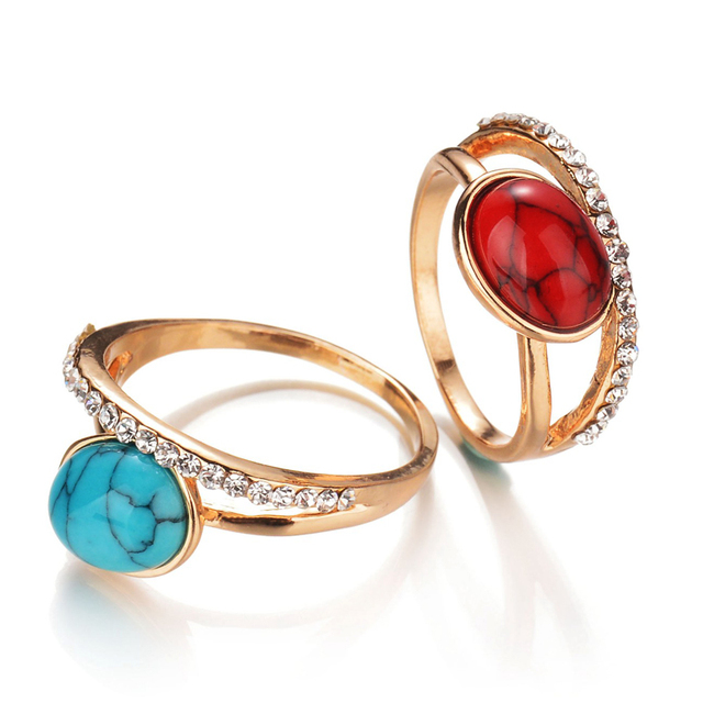 Antique Gold Color Crystal Bague Blue Red Green Oval Calaite Stone Ring Bohemia Wedding Rings for Women Jewelry