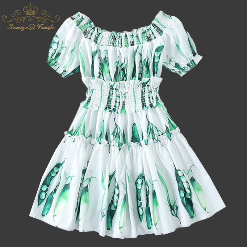 Family Clothes Summer Girl Dress 2018 High End Quality Women Casual Off Shoulder Beach Short Dress Pea Print Mini Dress Vestidos stylish off the shoulder lemon print girl s mini dress