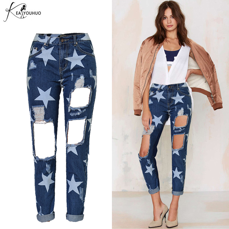 High Waisted Ripped Jeans Hole Knee Boyfriend Jeans For Women Pants Brand 2017 Casual Print Star Jeans Woman Denim Jeans Femme denim overalls male suspenders front pockets men s ripped jeans casual hole blue bib jeans boyfriend jeans jumpsuit or04