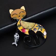D&Rui Jewelry Christmas Gifts Colorful Enamel Cat Pin Badge Scarf Cartoon Animal Fish Bone Metal Brooches Collar Pins for Women