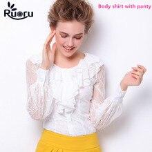 Ruoru Lace Women Body Shirt Ruffled Tops Carrier Wear Long Sleeve Slim Blouse Fashion Bodysuit Feminina Office